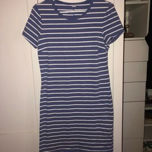 blue white striped t-shirt dress